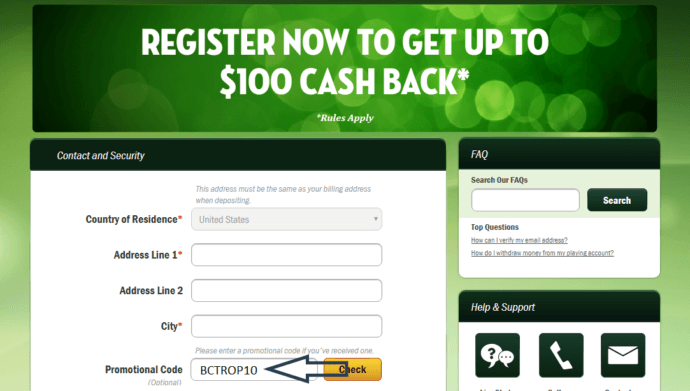 Tropicana Casino Online Promo Code for 20 Free - No Deposit